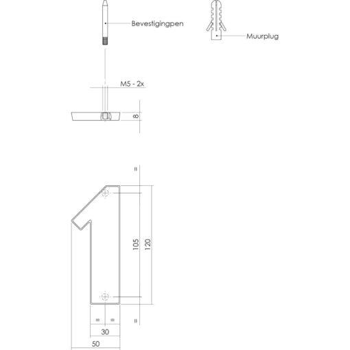 Intersteel Huisnummer 1 Koper getrommeld - Technische tekening
