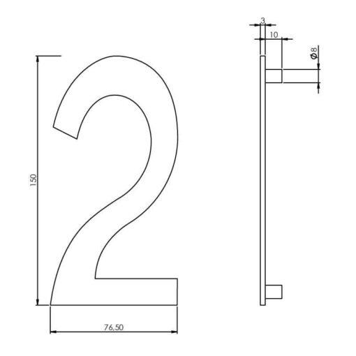 Intersteel Huisnummer 2 150 mm INOX geborsteld - Technische tekening