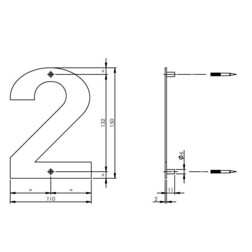 Intersteel Huisnummer 2 150x2mm INOX geborsteld - Technische tekening