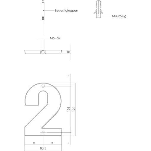 Intersteel Huisnummer 2 Koper getrommeld - Technische tekening