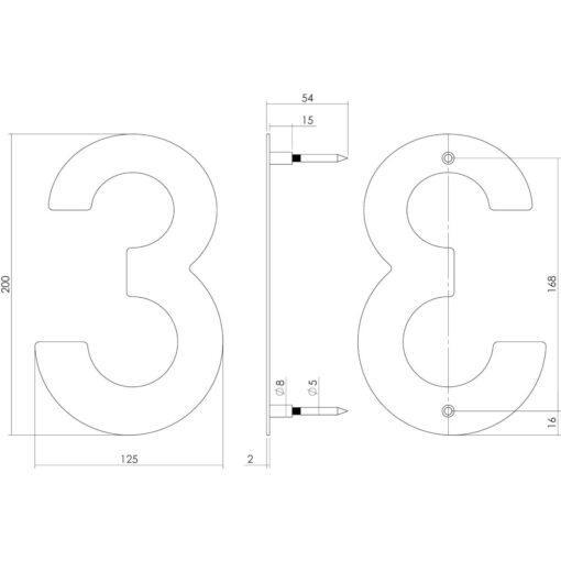 Intersteel Huisnummer 3 200 mm INOX geborsteld - Technische tekening