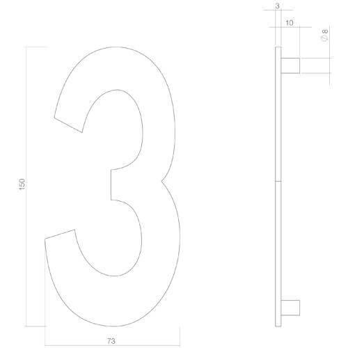 Intersteel Huisnummer 3 INOX mat zwart - Technische tekening