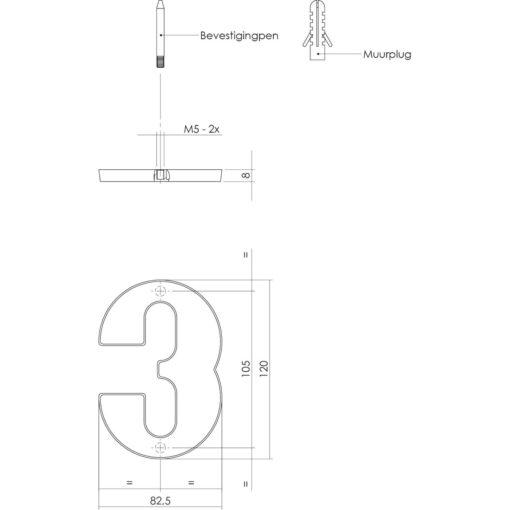 Intersteel Huisnummer 3 nikkel mat - Technische tekening