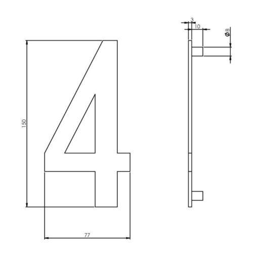 Intersteel Huisnummer 4 150 mm INOX geborsteld - Technische tekening
