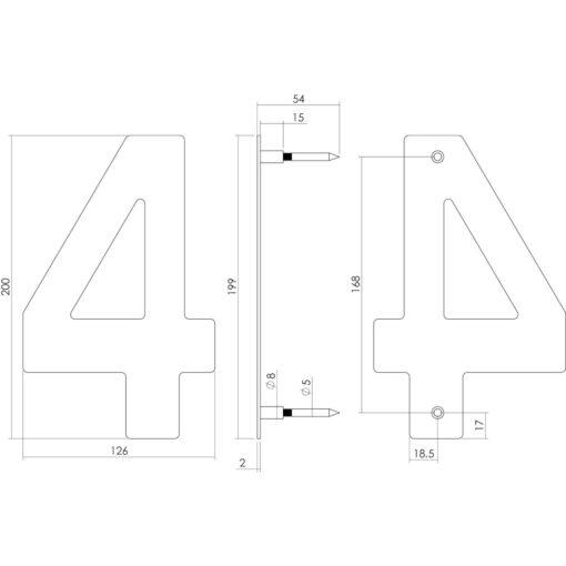 Intersteel Huisnummer 4 200 mm INOX geborsteld - Technische tekening