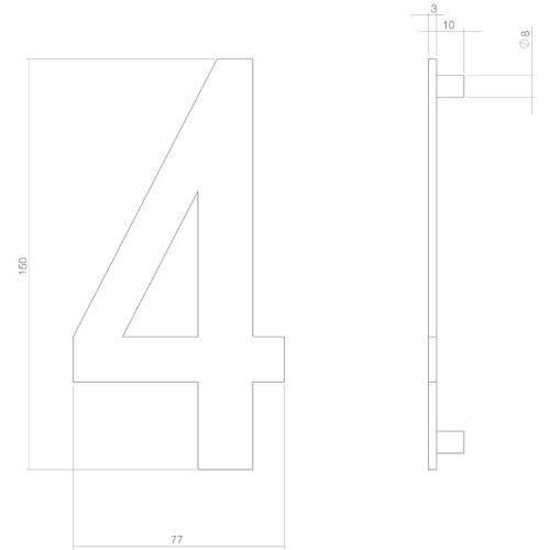 Intersteel Huisnummer 4 INOX mat zwart - Technische tekening