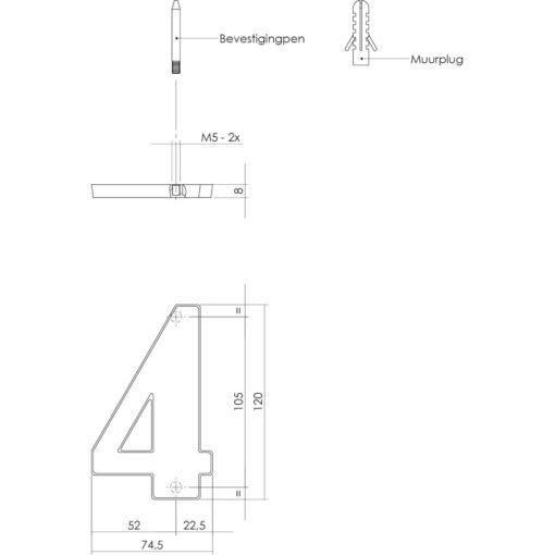 Intersteel Huisnummer 4 antraciet titaan PVD - Technische tekening