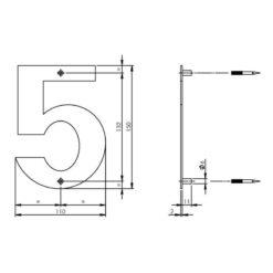 Intersteel Huisnummer 5 150x2mm INOX geborsteld - Technische tekening