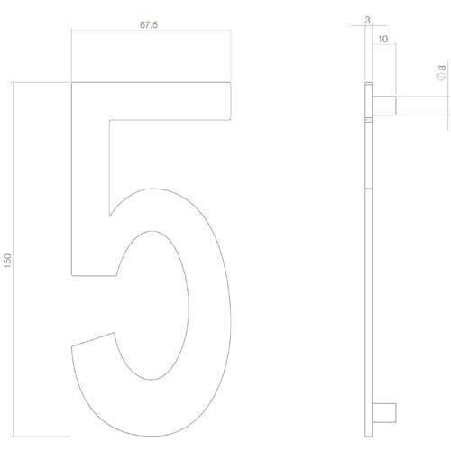 Intersteel Huisnummer 5 INOX mat zwart - Technische tekening