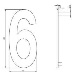 Intersteel Huisnummer 6 150 mm INOX geborsteld - Technische tekening