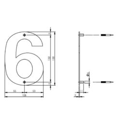 Intersteel Huisnummer 6 150x2mm INOX geborsteld - Technische tekening