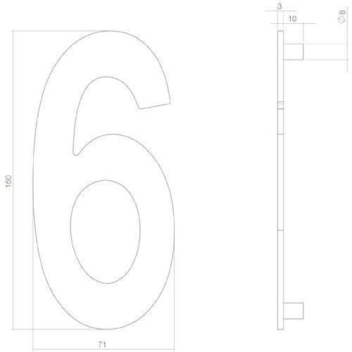 Intersteel Huisnummer 6 INOX mat zwart - Technische tekening