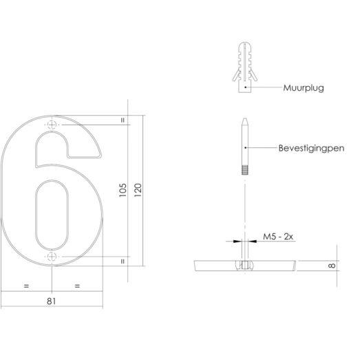 Intersteel Huisnummer 6 Koper getrommeld - Technische tekening