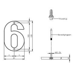Intersteel Huisnummer 6 chroom - Technische tekening