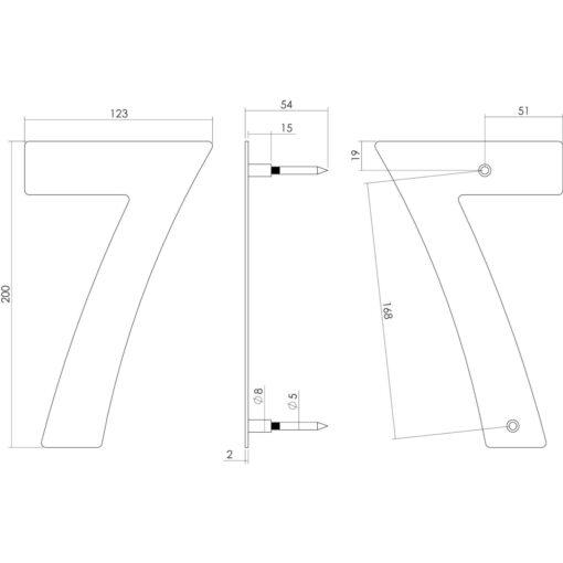 Intersteel Huisnummer 7 200 mm INOX geborsteld - Technische tekening