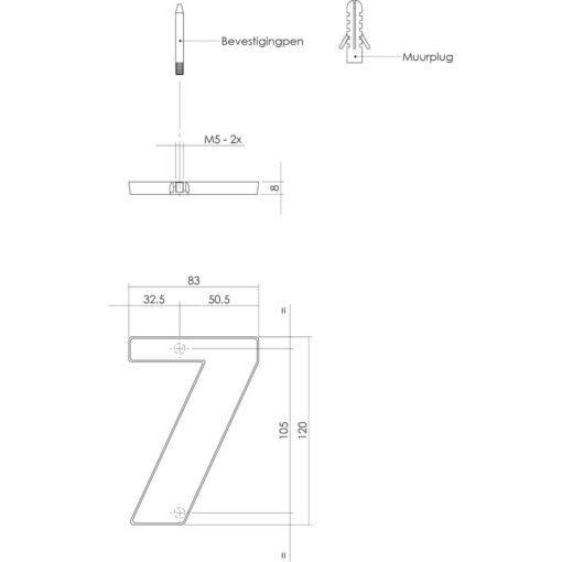 Intersteel Huisnummer 7 Koper getrommeld - Technische tekening