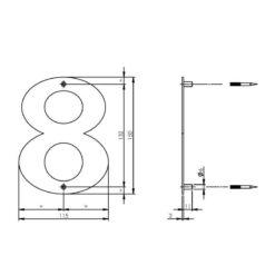 Intersteel Huisnummer 8 150x2mm INOX geborsteld - Technische tekening