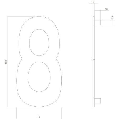 Intersteel Huisnummer 8 INOX mat zwart - Technische tekening