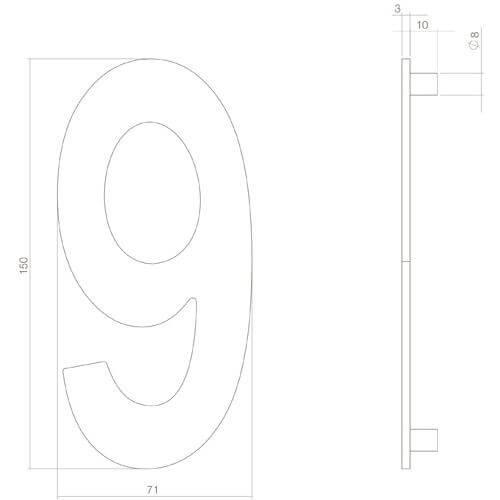 Intersteel Huisnummer 9 INOX mat zwart - Technische tekening