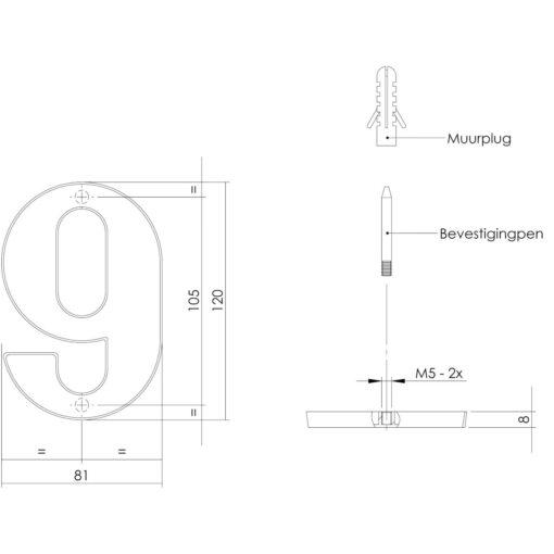 Intersteel Huisnummer 9 Koper getrommeld - Technische tekening