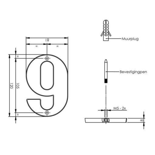 Intersteel Huisnummer 9 chroom - Technische tekening