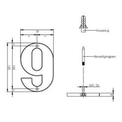 Intersteel Huisnummer 9 chroom mat - Technische tekening
