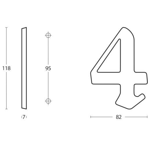 Intersteel Huisnummer Gotisch 1 Koper gelakt - Technische tekening
