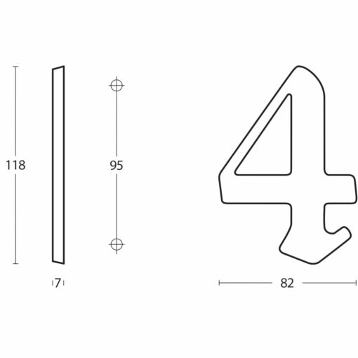 Intersteel Huisnummer Gotisch 4 Koper gelakt - Technische tekening