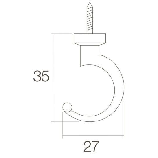 Intersteel Jashaak 35 mm Koper gebruineerd - Technische tekening