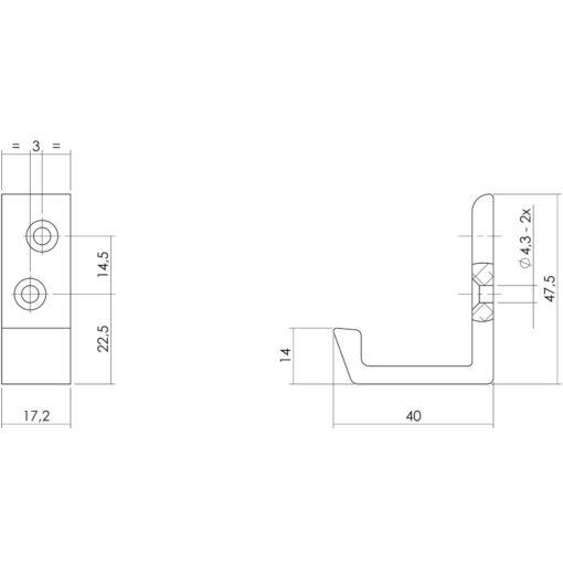 Intersteel Jashaak 40 mm aluminium diagonaal - Technische tekening