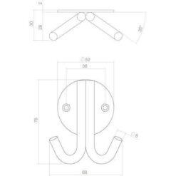 Intersteel Jashaak dubbel op rond rozet INOX geborsteld - Technische tekening