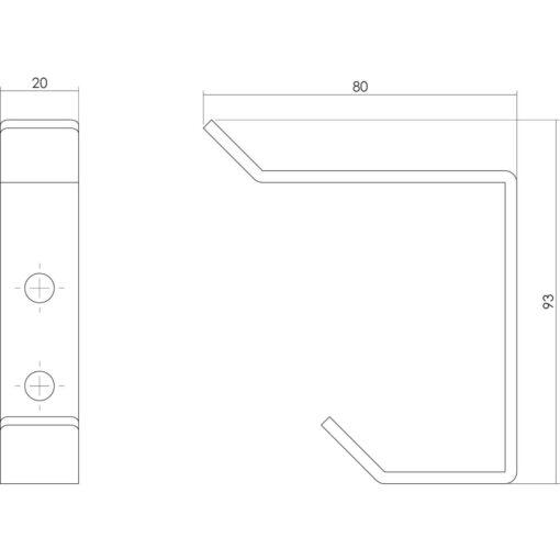 Intersteel Kapstokhaak gebogen INOX geborsteld 93 mm - Technische tekening