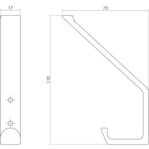 Intersteel Kapstokhaak recht INOX geborsteld - Technische tekening