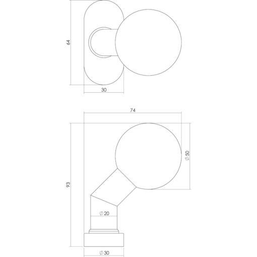 Intersteel Knop ovaal rozet brandvertragend INOX geborsteld - Technische tekening