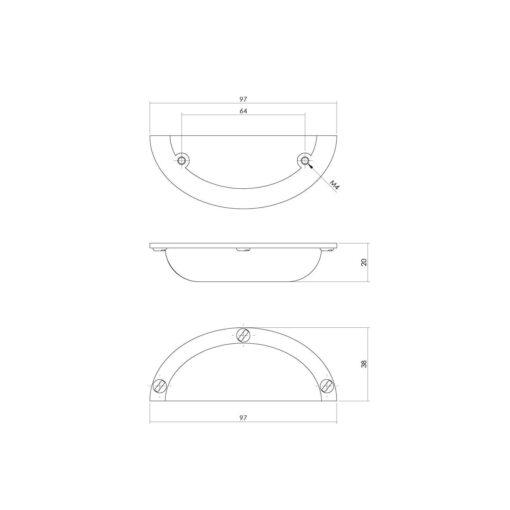 Intersteel Komgreep 97 mm mat zwart - Technische tekening