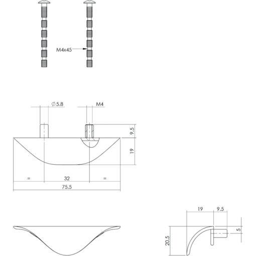 Intersteel Ladegreep 76 mm chroom mat - Technische tekening