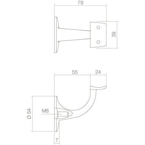 Intersteel Leuninghouder achterplaat hol zadel INOX geborsteld - Technische tekening