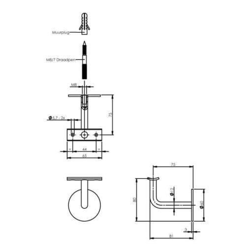 Intersteel Leuninghouder gebogen hol zadel INOX geborsteld - Technische tekening