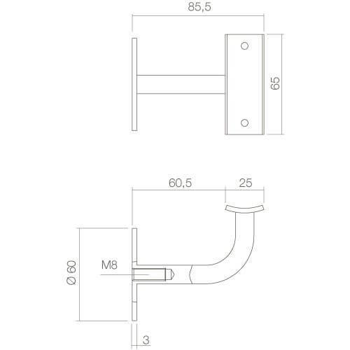 Intersteel Leuninghouder gebogen vierkant hol INOX geborsteld - Technische tekening