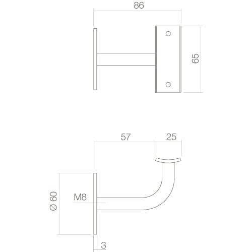 Intersteel Leuninghouder hol zadel INOX geborsteld - Technische tekening