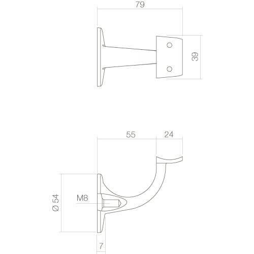 Intersteel Leuninghouder hol zadel opschroevend INOX geborsteld - Technische tekening