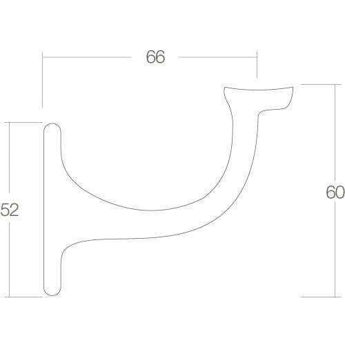 Intersteel Leuninghouder vlak zadel nikkel mat - Technische tekening