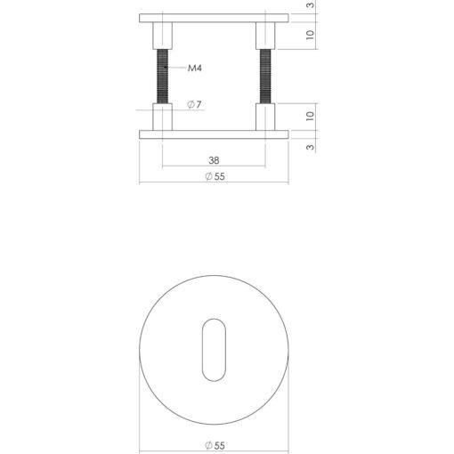 Intersteel Magneet rozet rond met profielcilindergat INOX geborsteld - Technische tekening