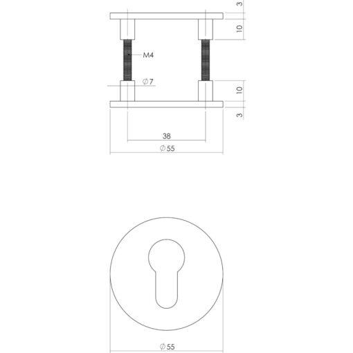 Intersteel Magneet rozet rond met toilet-/badkamersluiting INOX geborsteld - Technische tekening