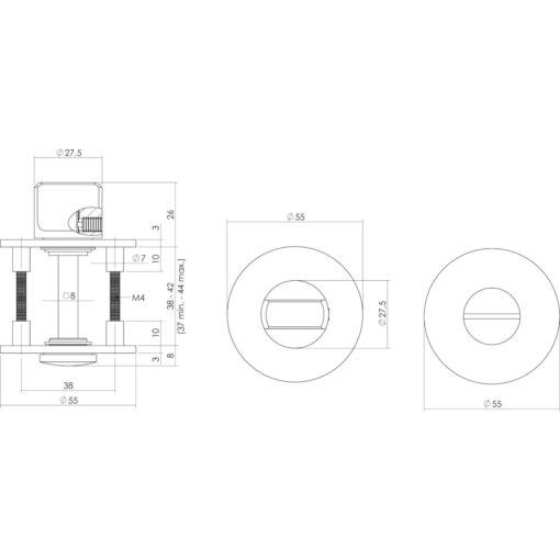 Intersteel Magneet rozet vierkant met sleutelgat INOX geborsteld - Technische tekening