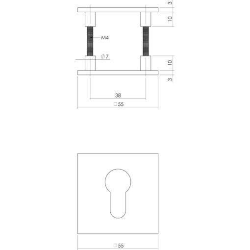 Intersteel Magneet rozet vierkant met toilet-/badkamersluiting INOX geborsteld - Technische tekening