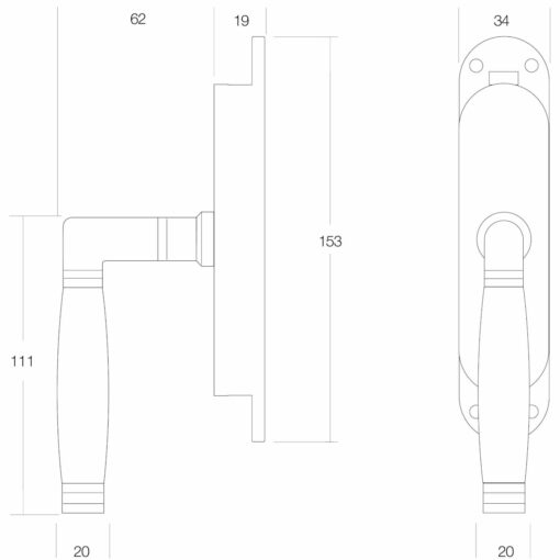 Intersteel Raamespagnolet Ton 222 rechts nikkel/ebbenhout - Technische tekening