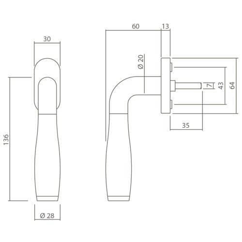 Intersteel Raamkruk Bas Konig Solid Fusion INOX geborsteld - Technische tekening