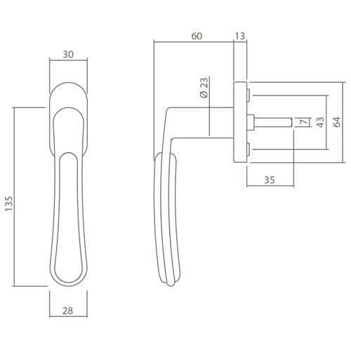 Intersteel Raamkruk Bas Konig Special Fusion INOX geborsteld - Technische tekening