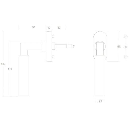 Intersteel Raamkruk Bau-stil Koper gelakt - Technische tekening